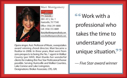 5 star professional 2012, highest in customer satisfaction, Mari Montgomery Realty,Huntsville TX,real estate,keller williams, Elkins Lake,mari montgomery,waterfront ,real estate companies, agencies